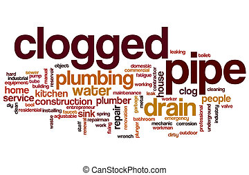 Clogged pipe word cloud concept