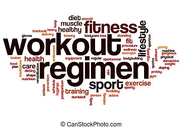 Workout regimen word cloud concept