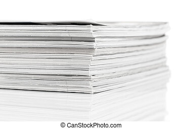 Magazines up close shot on white background - magazines up...