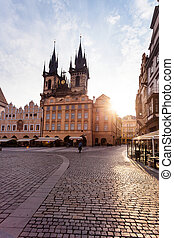 Prague. Tyn Cathedral of the Virgin Mary at sunrise. -...