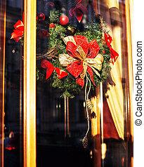 citylife on Christmas. Decoration of showcase outside...