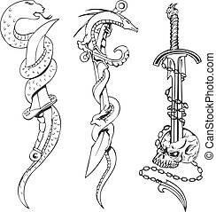 Tattoo sketches with snakes, daggers and skull