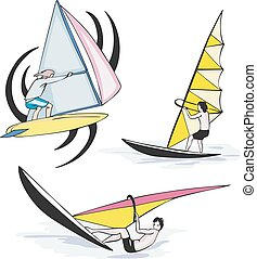 Set of sailing sportsmen on sailboats in the sea