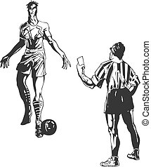 Soccer referee takes a card to player. Black and white sport...