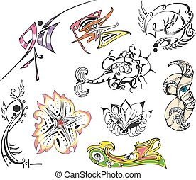 Collection of fantasy tattoo sketches