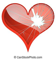 Broken hearts. Dislike, sadness, shattered, rupture, break up themes.
