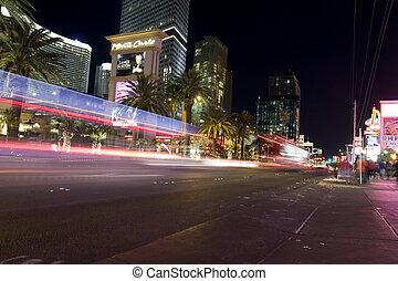 Las vegas - Cars on Las vegas strip view by night