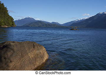 Lago Yelcho in the Aysen Region of southern Chile. Large...