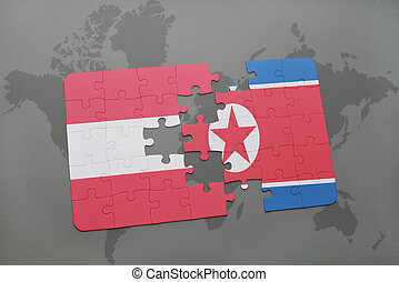puzzle with the national flag of austria and north korea on...