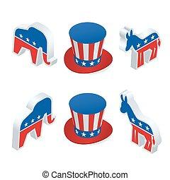 Isometric democrat donkey and the republican elephant