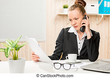 financial analyst on the phone with the director of the company