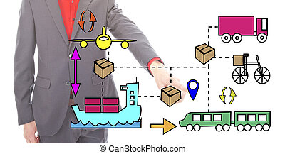 Young businessman with logistic icons isolated on white...