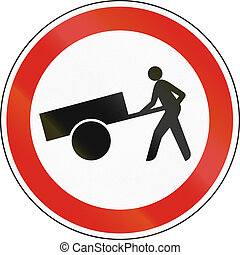 Hungarian regulatory road sign - No handcarts.