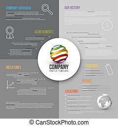 Vector Company infographic overview design template gray...
