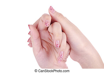 Nail-Art - Beautiful hands of a woman with nail art