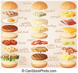 Burgers set. Ingredients buns, cheese, bacon, tomato, onion, lettuce, cucumbers, pickle onions, beefs, ham