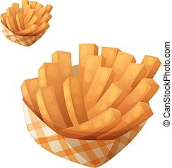 Sweet potato fries in paper box. Detailed vector icon...