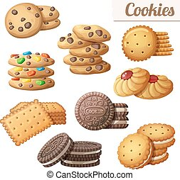 Cookies. Set of cartoon vector food icons isolated on white...