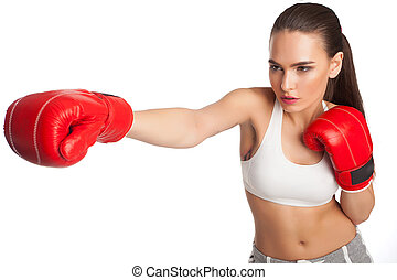 Woman with boxing gloves - Woman in boxing gloves and...