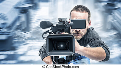 Video operator records the video. - Video operator records...