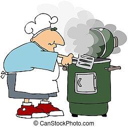 Kochen, Raucher, Mann
