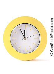 Yellow round analog clock - Yellow, round, analog clock with...