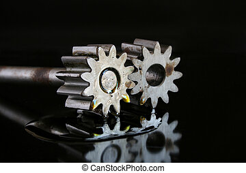 Gears working together - Cogs of oil pump with puddle od...