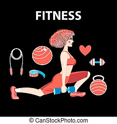 Vector girl engaged in fitness - Vector graphics girl...