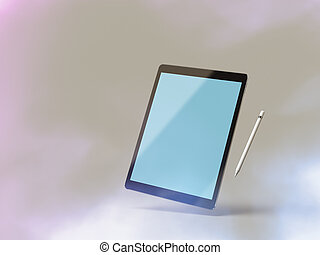 Mockup of a tablet computer with stylus - Black tablet pc...