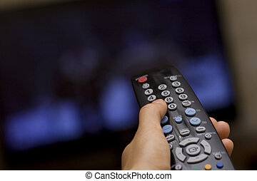 TV remote - Television remote control changes channels thumb...