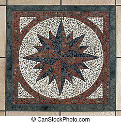 Mosaic compass - Decorative mosaic compass symbol pattern
