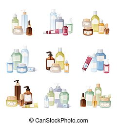 Cosmetics bottles vector illustration. - Cosmetics packages...