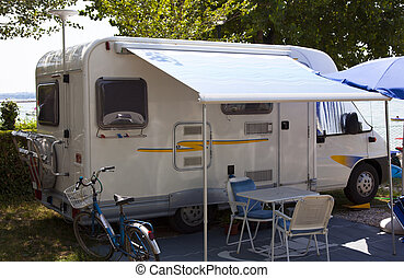 camper on the camping in the summer