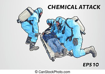 People in chemical protection save the victim. Laying on a...