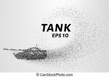The tank of particles. The tank crumbles into small...