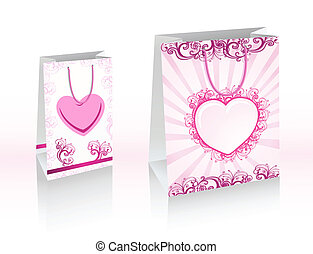 Vector purple shopping bags with he
