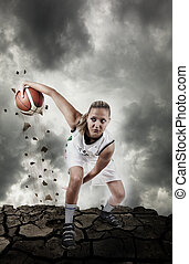 Basketball player running on grungy surface - Basketball...