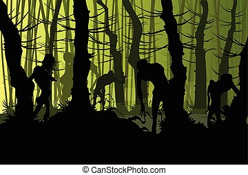 Creepy zombies in a forest - Vector illustration of zombies...