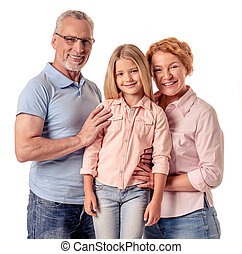 Grandparents and little girl - Portrait of beautiful happy...
