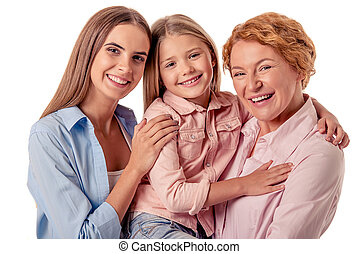 Grandma, mom and little girl - Portrait of happy little...