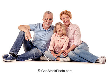 Grandparents and little girl - Portrait of cute little girl...