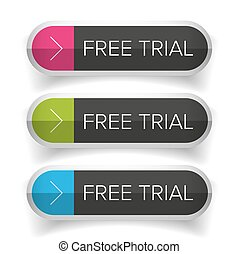 Free Trial button set vector