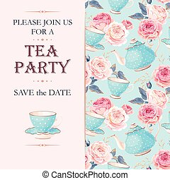 Tea party invitation - Vector tea party invitation with cups...