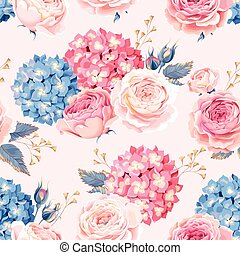 Seamless rose and hydrangea - Vintage rose and hydrangea...