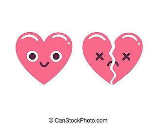 Cute emoticon hearts - Cute cartoon emoticon hearts, happy...