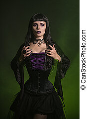 Beautiful witch dressed in a corset and velvet blouse -...