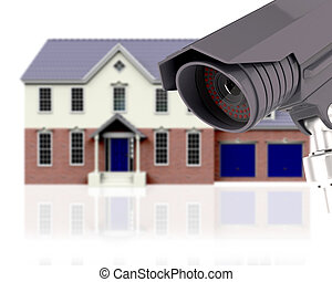 3D CCTV with defocussed image of house