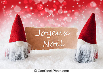 Red Christmassy Gnomes With Card, Joyeux Noel Means Merry...