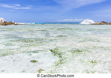 Turquoise Lagoon, La Digue, Seychelles - Turquoise water in...