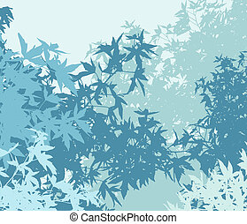 Colorful landscape of foliage in cold mist - Vector...